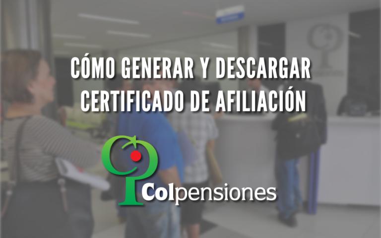 Certificado de afiliación de Colpensiones por internet